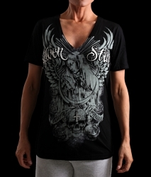 Silver Star Womens Jrs Sanctuary V-neck Black t-shirt