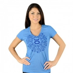 Jaco Womens Henna Performance V Neck t-shirt Indie Blue